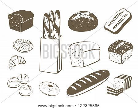 Set of monochrome lineart food icons: bread - rye bread ciabatta wheat bread whole grain bread bagel sliced bread french baguette croissant and so. Vector illustration isolated on white.