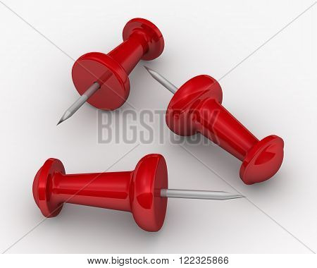 Red pushpin lie on a white surface. The three-dimensional illustration. Isolated