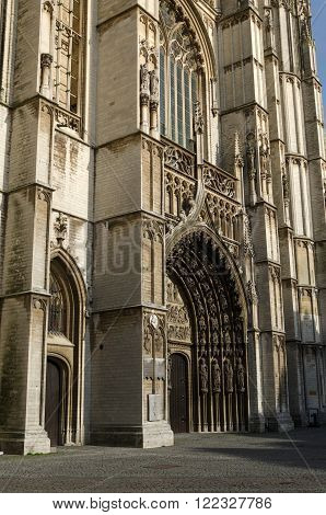 Main portal on the cathedral of Our Lady in Antwerp Belgium