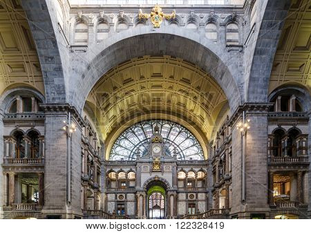 Entrance hall of Antwerp Central station in Antwerp Belgium.