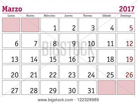 Marzo 2017 Wall Calendar Spanish