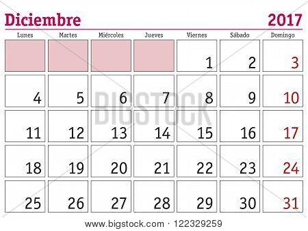 Diciembre 2017 Wall Calendar Spanish