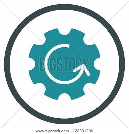 Gear Rotation vector bicolor icon. Image style is a flat icon symbol inside a circle, soft blue colors, white background.