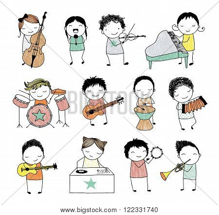 collection of cute doodle kids playing different musical instruments