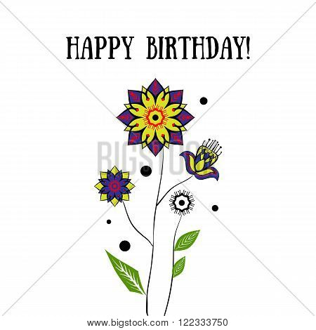 Happy Birthday card with flowers on white background. Stock vector illustration.