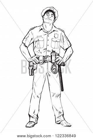 Smug policeman stands upright. Blue uniform