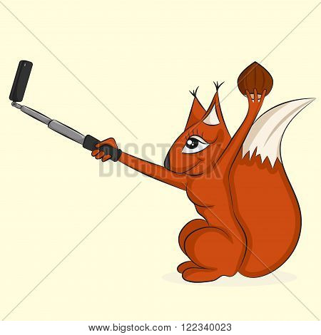 Squirrel with nut. Pretty animal makes selfie on mobile phone with selfie-stick. Funny illustration for prints.