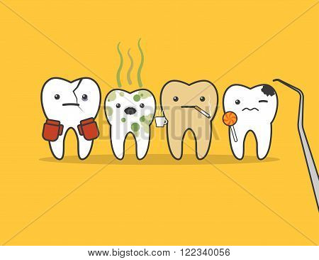 Concept of problematic teeth. Funny vector illustration
