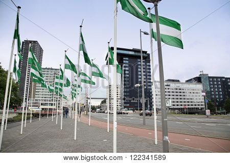 ROTTERDAM THE NETHERLANDS - 18 AUGUST: Rotterdam is a city modern architecture Nieuwe Leuvebrug street with green-white-green flags of Rotterdam in Rotterdam Netherlands on August 182015.