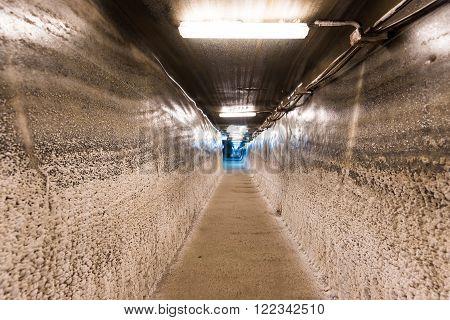 TURDA, ROMANIA - MARCH 2016: Tunnel at salt mine and museum in Turda on 07th of March in Turda, Romania