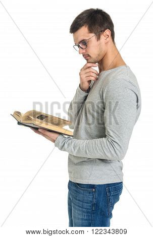 Man reading book side view isolated on white