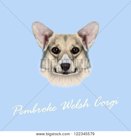 Cute grey dog face on blue background