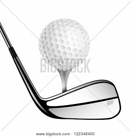 Golf Ball And Golf Stick Isolated On The White.