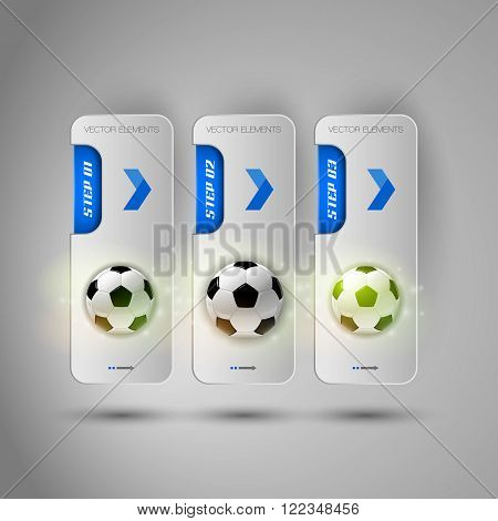Realistic Fottballs On The Gray Business Banners As Design Infographic Soccer Elements.