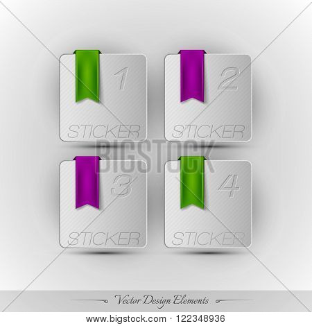 Business Stickers On The Gray Background. Vector Design Elemnts.