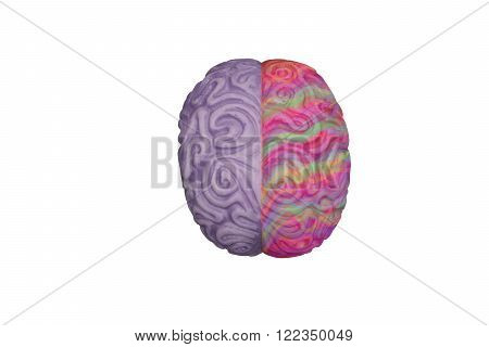 Brain with colored hemispheres, creativity and analytical