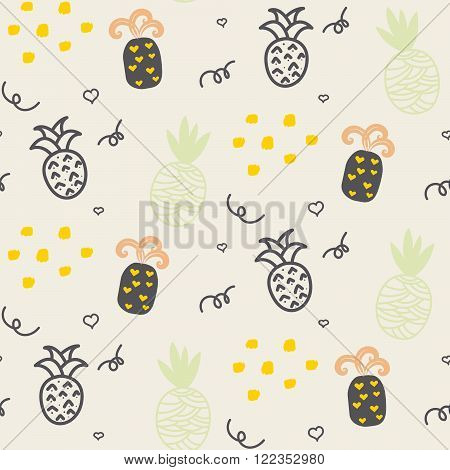 Baby pattern pastel beige pineapple seamless design. Nursery pineapple kid background for bed linen and apparel. Ananas pineapple taupe and brown fun pattern.