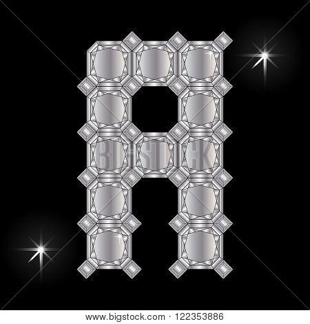 Metal letter A. Faceting gemstone. Geometric polygonal shapes