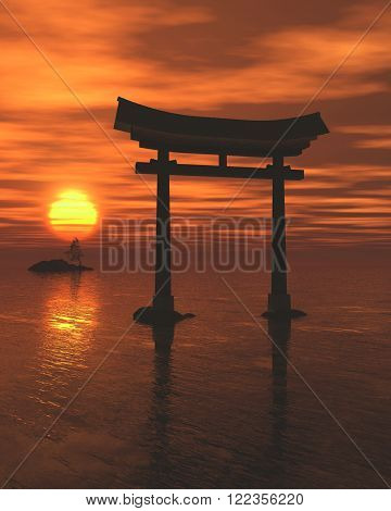 Fantasy illustration of a floating Japanese Torii Gate in dramatic golden sunset light, marking the entrance to a Shinto Shrine or sacred space, 3d digitally rendered illustration