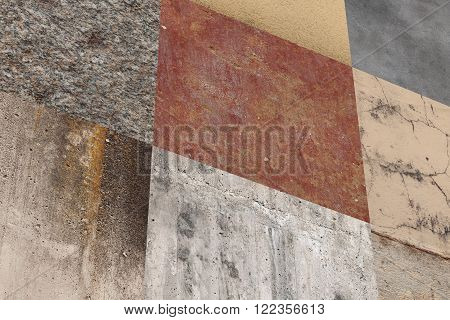 Side View On Wall Made Of Square Elements