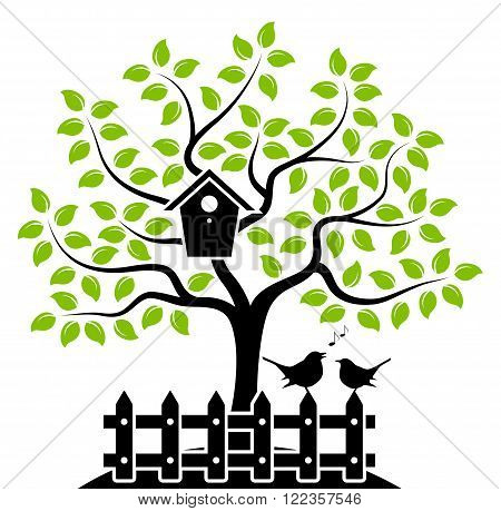 vector tree with nesting bird box and picket fence with couple of birds isolated on white background