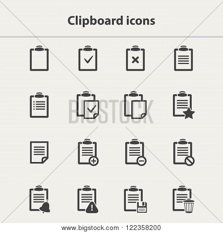 Vector black Clipboard icons set in flat style.Clipboard icons vector.Clipboard icons collection isolated.Vector List.Checklist vector.Office Clipboard icons set