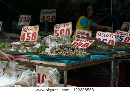 Rayong, Thailand - December 31, 2015 : Thai seafood market at Laem Mae Phim Beach on Kram, Klaeng, Rayong, Thailand.