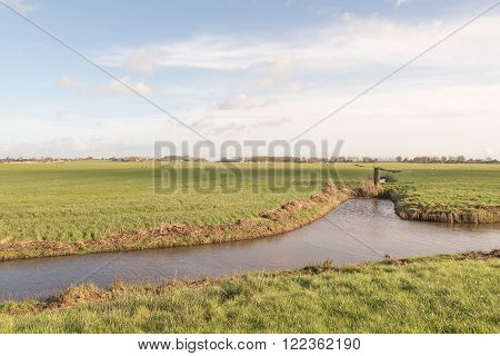 Pasture with a ditch at Warns in Friesland Netherlands.