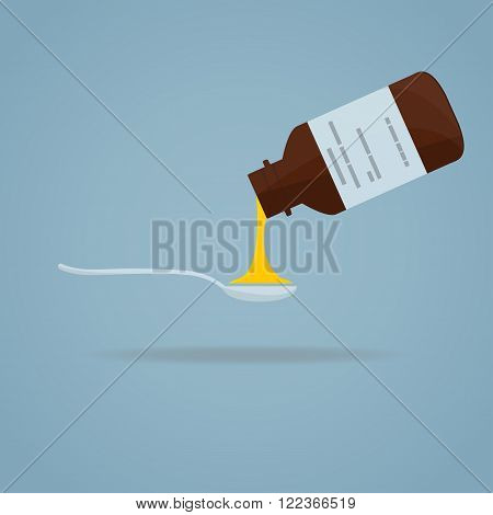 Flat illustration. Medical bottle with syrup pour in spoon.