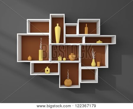 3d rendered bookshelves with colourful decorative ceramics.