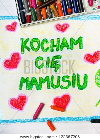 """Colorful drawing - Polish Mothers Day card with words """"I love you mum"""""""