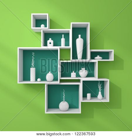 3d rendered bookshelves with simple decorative ceramics.