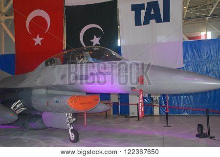 ANKARA/TURKEY-SEPTEMBER 2: F-16 Fighting Falcon aircraft at the TAI's Aircraft Hangar during the
