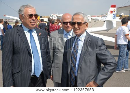 ANKARA/TURKEY-MAY 6, 2012:Commander of Turkish Air Force Full General Mehmet Erten (R) and THK President Osman Yildirim at the Etimesgut Airport during the air fest. May 6, 2012-Ankara/Turkey ** Note: Shallow depth of field