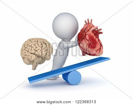 Human heart and brain on a scales.