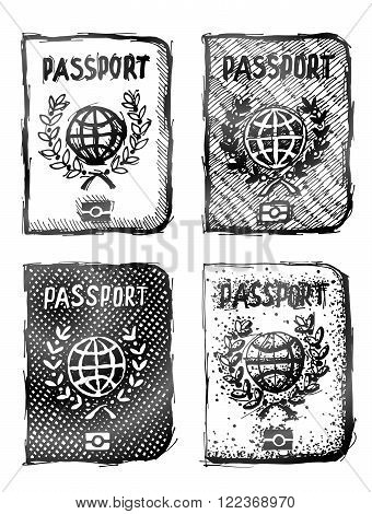 Hand drawn passport. Sketch of international identification document in doodle style. Qualitative vector illustration about identification travel check-in tourism passport control vacation citizenship trip etc. It has only gradients
