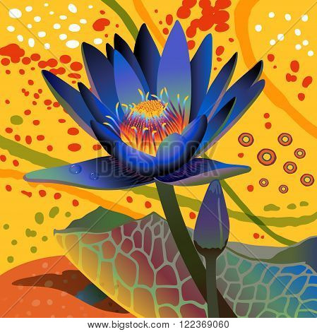 blue water lily on abstract yellow background