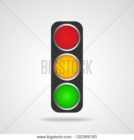 Traffic lights symbol on white background. Black traffic lights - vector illustration. Road sign over white background