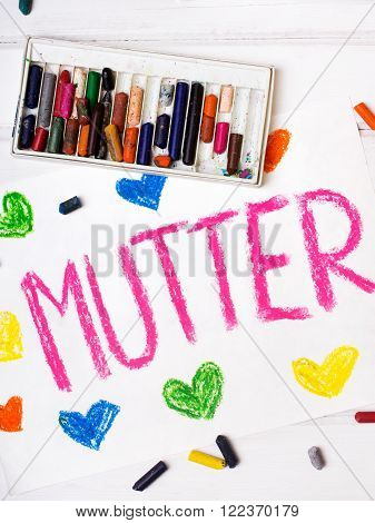 Colorful drawing - German Mother's Day card with words 'Mother'