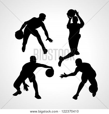 Basketball players collection vector. 4 silhouettes of basketball players set