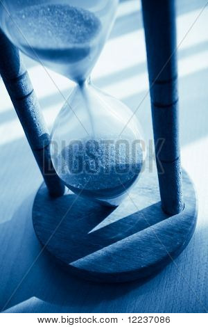 closeup of hourglass blue toned