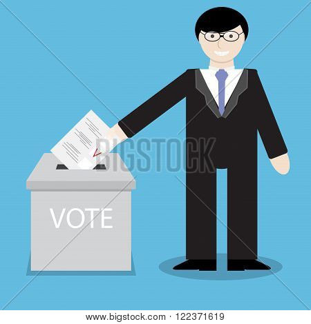 Man businessman votes throwing into box bulletin. Political referendum voting and government ballot paper polling bulletin insert document. Vector abstract flat design illustration