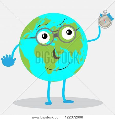 Character globe with compas. Earth cartoon global planet world icon person map and compas. Vector abstract flat illustration