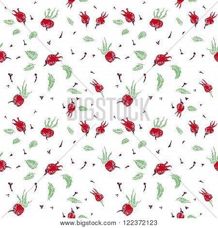 Dogrose friuts vector seamless pattern on white