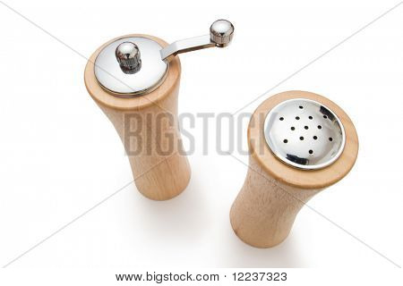 wooden salt and pepper pot isolated with clipping path