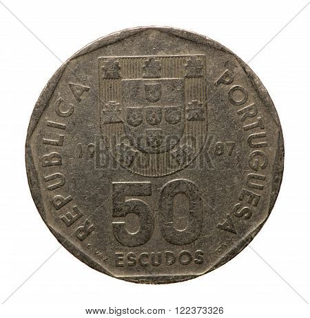 metal coins fifty escudos Portugal isolated on white background .revers