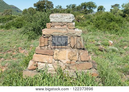 COOKHOUSE, SOUTH AFRICA - FEBRUARY 19, 2016: Memorial for the 1820 Scottish Settlers who passed near by this point on their way to the Baviaans River Valley