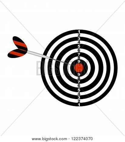 Darts board and darts arrow. Black and red illustration of a darts . Vector icon isolated on the white background.