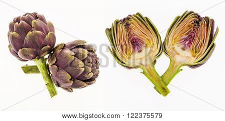 Purple Artichokes And Half Artichoke, Isolated On White Background.