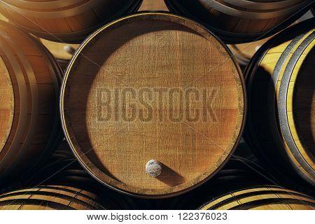 Close up of wooden wine-barrel top. Mock up 3D Render